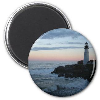 ¡Faro, puesta del sol gloriosa! Imán Redondo 5 Cm
