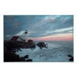 Faro, puesta del sol gloriosa, poster