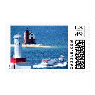 Faro redondo de la isla de la isla de Mackinac Sello Postal