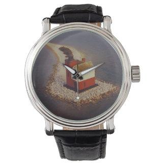 Faro redondo de la isla relojes de pulsera