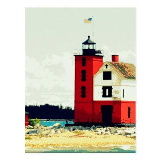 Faro redondo de la isla tarjeta postal