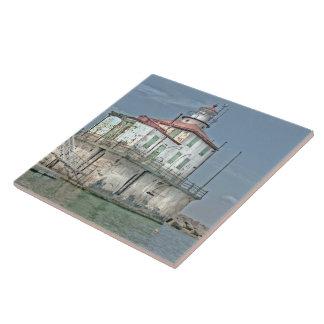 Faro resistido viejo del lago azulejo cuadrado grande