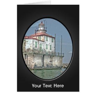 Faro resistido viejo del lago tarjeta de felicitación