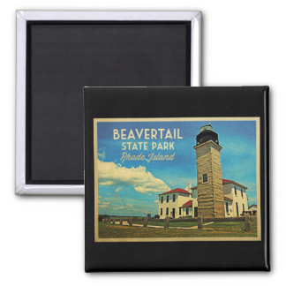 Faro Rhode Island de Beavertail Imán Cuadrado