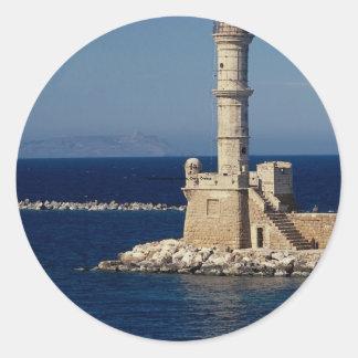 Faro veneciano Xania Creta Grecia Pegatinas Redondas