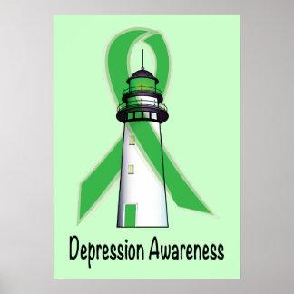 Faro verde de la conciencia de la depresión de la póster