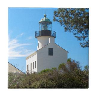 Faro viejo del Point Loma Azulejo Cuadrado Pequeño