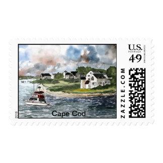 Faro y barco de Cape Cod Massachusetts Sello