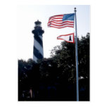 Faro y Flages de St Augustine Tarjeta Postal