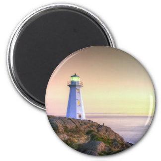 Faro y foto de la puesta del sol imán redondo 5 cm