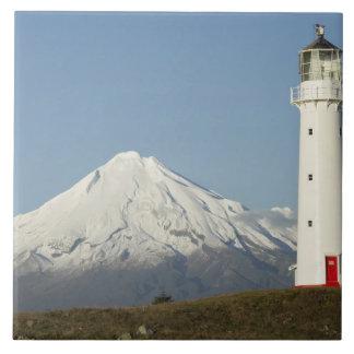 Faro y Mt Taranaki/Mt de Egmont del cabo Azulejo Ceramica