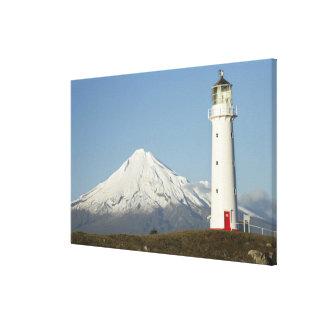 Faro y Mt Taranaki/Mt de Egmont del cabo Lona Estirada Galerías