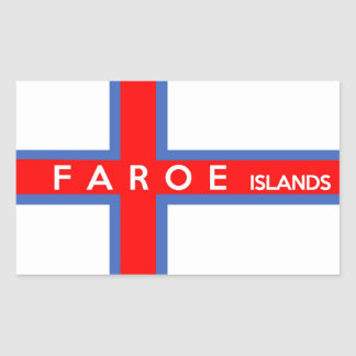 faroe islands country flag text name rectangular sticker