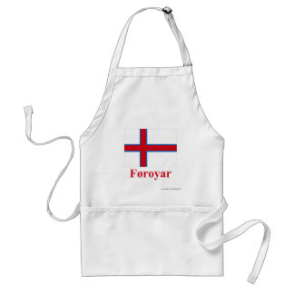 Faroe Islands Flag with Name in Faroese Adult Apron