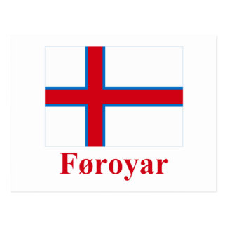 Faroe Islands Flag with Name in Faroese Post Card