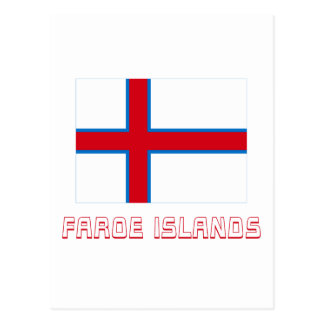 Faroe Islands Flag with Name Postcards