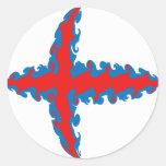 Faroe Islands Gnarly Flag Classic Round Sticker