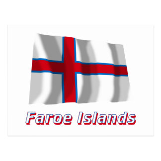 Faroe Islands Waving Flag with Name Post Card