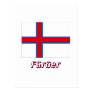 Färöer Flagge mit Namen Postcard