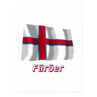 Färöer Fliegende Flagge mit Namen Postcard