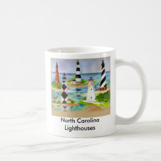 Faros de Carolina del Norte Taza Básica Blanca
