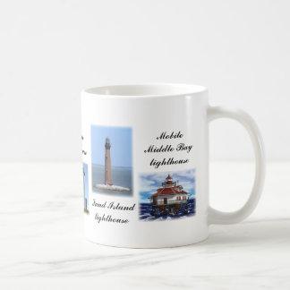 Faros de la Costa del Golfo Taza Básica Blanca