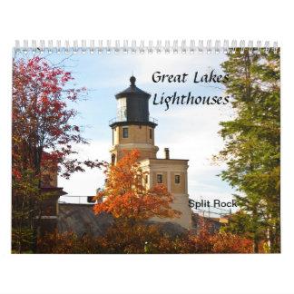 Faros de los Great Lakes Calendario De Pared