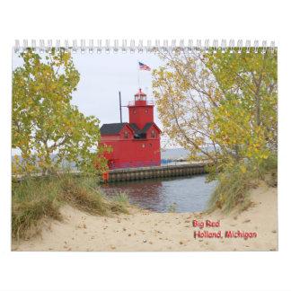 Faros del lago Michigan Calendario De Pared