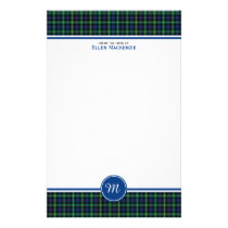 Farquharson Clan Blue and Green Tartan Monogram Stationery