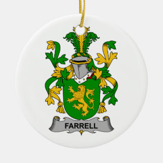 Farrell Family Crest Double-Sided Ceramic Round Christmas Ornament