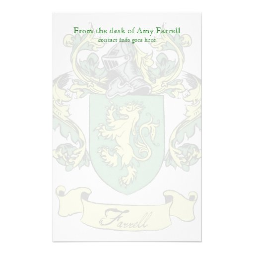 Farrell Family Crest Stationary Personalized Stationery