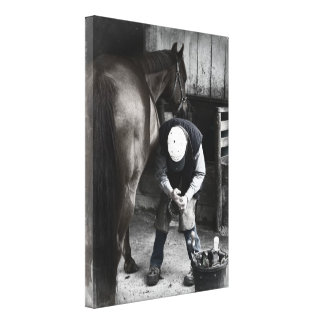 Farrier at Work - Desaturated Daguerrotype Canvas Print