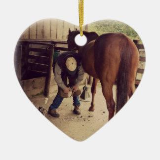 Farrier - Beautiful Horse Photo Hoof Trim Ceramic Ornament
