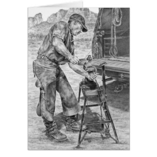 Farrier/Blacksmith Drawing by Kelli Swan Greeting Cards