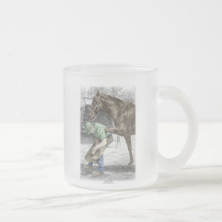 Farrier Blacksmith Shoeing Horse Frosted Glass Coffee Mug