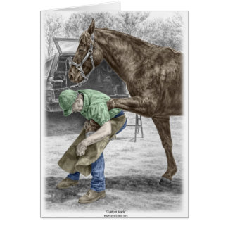 Farrier Blacksmith Shoeing Horse Greeting Card