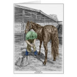 Farrier Blacksmith Trimming Horse Hoof Greeting Card
