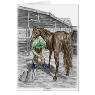 Farrier Blacksmith Trimming Horse Hoof Greeting Card
