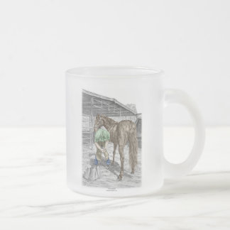 Farrier Blacksmith Trimming Horse Hoof Frosted Glass Coffee Mug