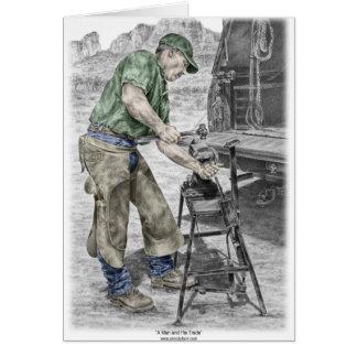 Farrier Blacksmith Using Anvil Card