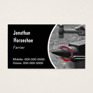 Farrier holding a hot horseshoe with pincers business card