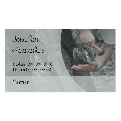 Farrier horseshoeing business card