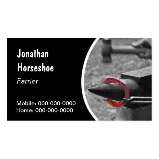 Farrier hot horseshoe business card