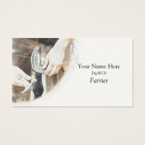 Farrier nailing a horseshoe business card