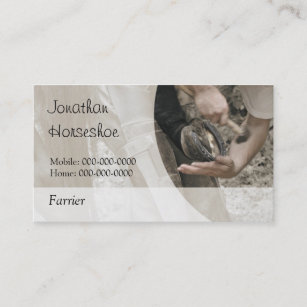 Farrier business cards templates zazzle farrier nailing a shoe onto a hoof business card colourmoves