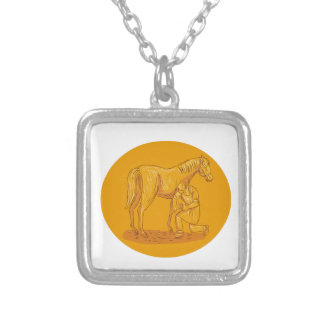 Farrier Placing Shoe on Horse Hoof Circle Drawing Silver Plated Necklace