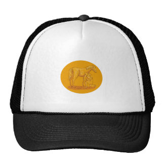 Farrier Placing Shoe on Horse Hoof Circle Drawing Trucker Hat