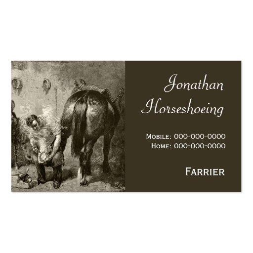 Farrier shoeing a horse business card