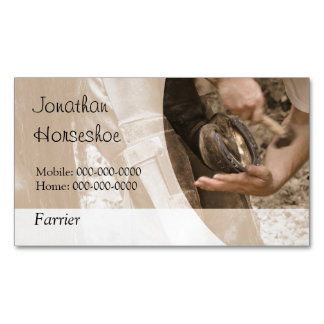 Farrier shoeing a horse magnetic business card