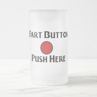 Fart Button Frosted Glass Beer Mug